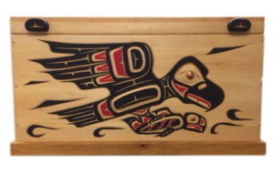 First Nations' hand-carved cedar chest